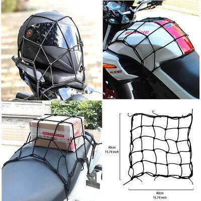 ATTEEN 2 Pcs Bike Cargo Net Heavy-Duty Motorcycle Bungee Cord Storage Adjustable Tie Down Luggage Net Helmet Mesh Net w//6 Hooks