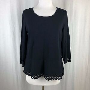 Talbots-Petites-Solid-Black-Cutout-Trim-Sweater-Size-PL-Large