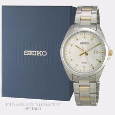 Authentic Seiko Men's Two Tone Quartz Analog Watch SUR211