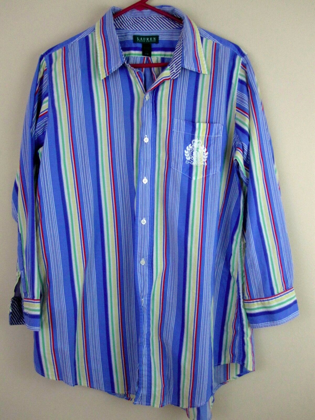 Ralph Lauren Shirt Small bluee Striped Multi colord Crest Logo Mens Button Down