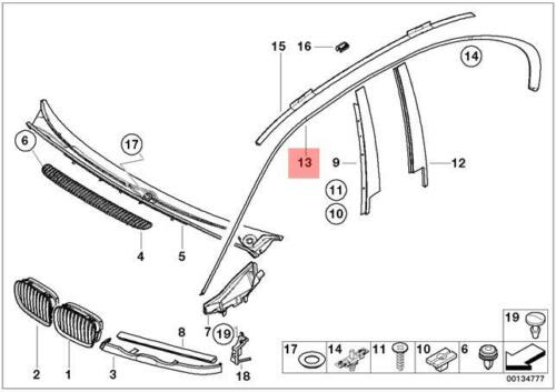 Genuine BMW E46 Sedan Roof Ledge Molding Right OEM 51138208500
