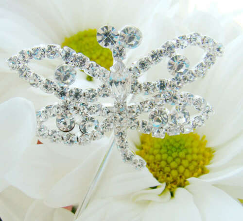 Silver Crystal Dragonfly Wedding Bouquet Jewelry Picks Set of 2