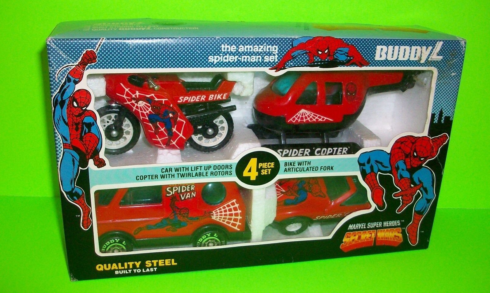 1984 VTG Buddy L SECRET VAROR 4 Fordon AMAZING SPIDERMAN SET Copter Van Bike bil