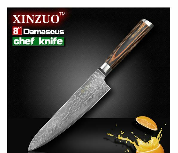 Meat Frozen Poultry Damascus Steel Quality Sharp Professional Chef Knife Cook