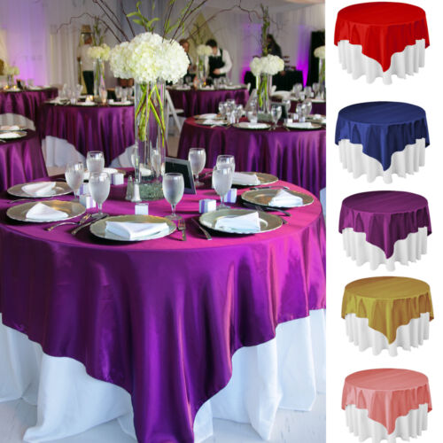5 Size Square Satin Tablecloth Overlay Fabric Wedding Table Cloth Cover Party D