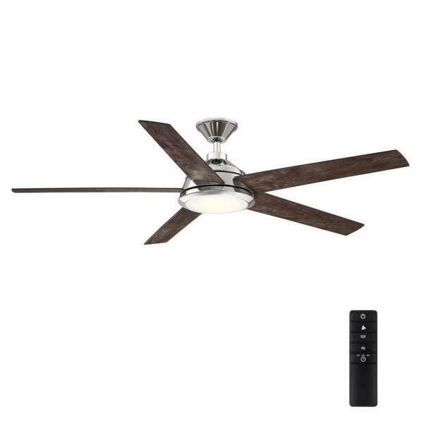 Haverbrook 60 in. LED Polished Nickel Ceiling Fan w/ Light