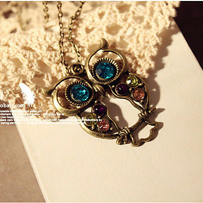 Vintage Gold Plated Blue Eye Hollow Owl Crystal Statement Pendant Necklace
