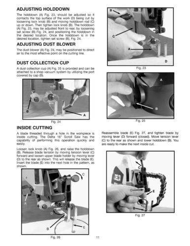 """Delta 16/"""" Variable Speed Scroll Saw 40-570 Instruction /& Parts List Manual #2045"""
