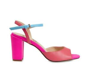 f3d635ac006 Image is loading Ladies-Leather-Bright-Multi-Coloured-Block-Heeled-Sandals-