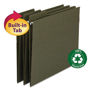 Smead FasTab Recycled Hanging File Folders Legal Green 20/Box 64137