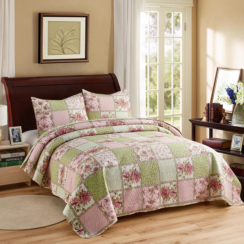 Full Queen Quilt Set Roses Shabby Cottage Floral Lightweight Bedding Pink Green For Sale Online