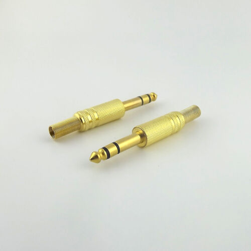 "10pcs 6.35mm 1//4/"" Stereo Male Plug Metal Audio Cable Gold TRS Adapter Connector"