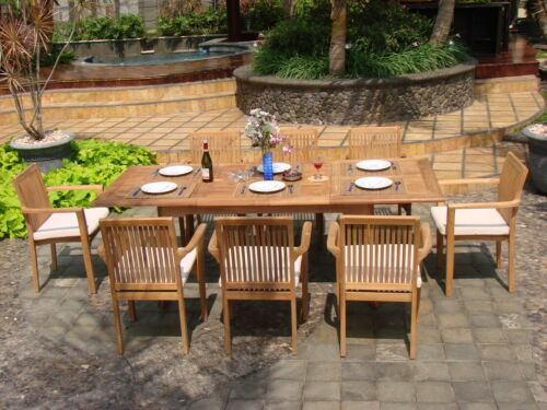 """DSLU A-Grade Teak 9pc Dining Set 94"""" Rectangle Table 8 Stacking Arm Chairs Patio"""