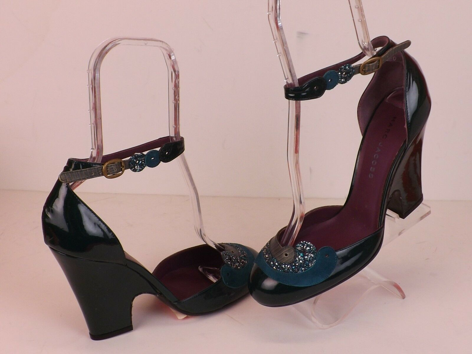 NEW MARC JACOBS vert PATENT GLITTER LEATHER ANKLE STRAP WEDGE HEEL PUMPS 38