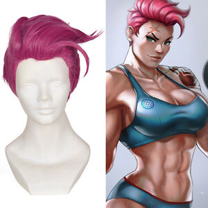 33cm 13 Overwatch Zarya Rose Pink Anti Alice Cosplay Short Wig Hair