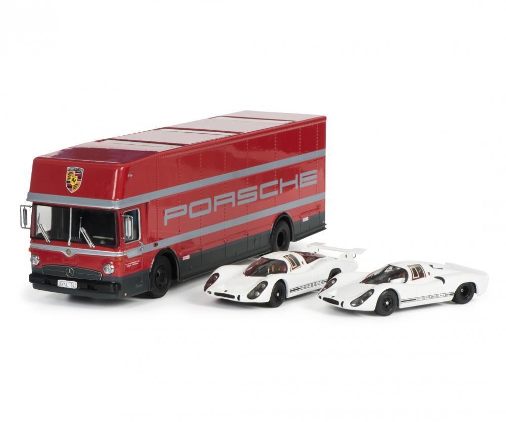 Schuco 1 43 Porsche transporter Mercedes-Benz O317 with Porsche 908 450372700