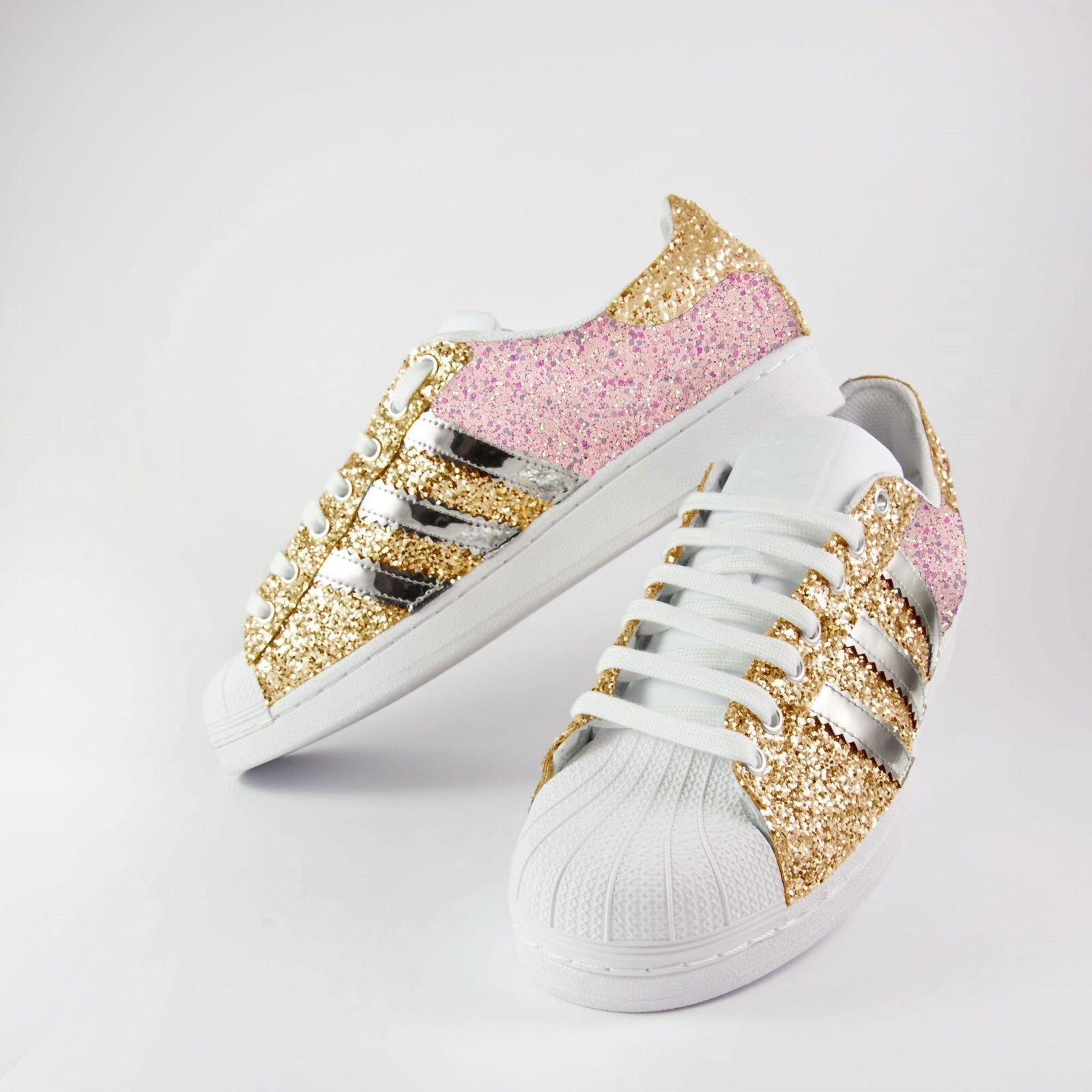 scarpe adidas superstar piu' con glitter rosa + glitter oro piu' superstar specchiato argento e61d57