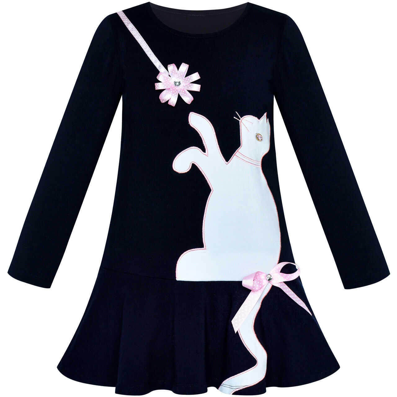 Sunny Fashion Girls Dress Tank Embroidered Cat Pattern Gray
