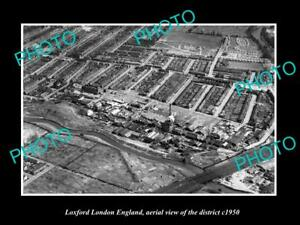 OLD-LARGE-HISTORIC-PHOTO-LOXFORD-LONDON-ENGLAND-AERIAL-VIEW-OF-DISTRICT-c1950-1