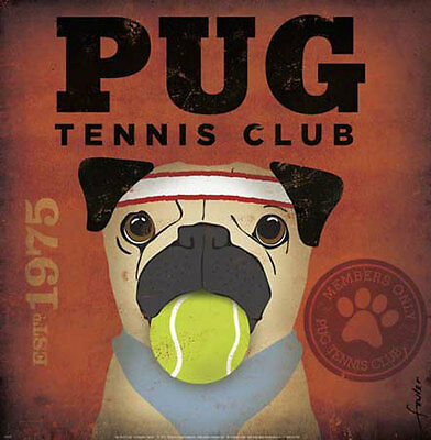 Pug Tennis Club by Stephen Fowler Animals Dogs Sports Pets Print Poster