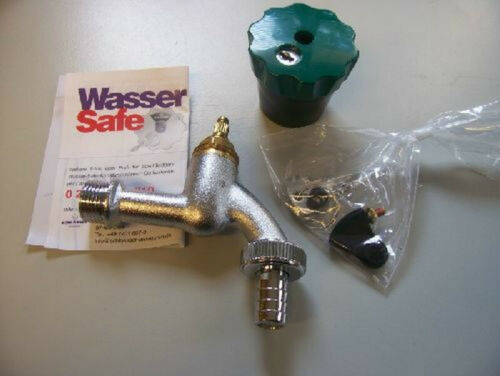 tuyau raccord et 2 clés Mat Chromé Serrures eau Safe incl
