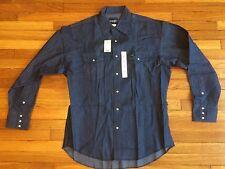 NEW Vtg Wrangler Western Work Cowboy Cut Blue Denim Pearl Snap Shirt 17-36