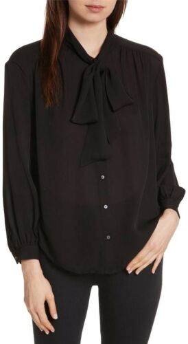 blouse Esti Top Sz Joie 288 Med Tie Zijden Black Longsleeve Neck 546q0