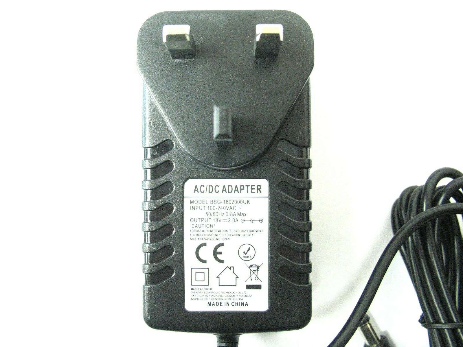 2000ma 18v AC-DC Mains Regulated Power Adaptor/Supply/Charger (2a, 36w)