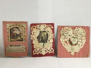 Antique-Paper-Scrap-Valentine-s-Day-Card-Hand-Made-Ephemera-Lot-3-Crepe-amp-Lace