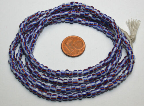 Trade Beads 4 mm Strang blau gestreifte Glasperlen Seed Beads aus Ghana