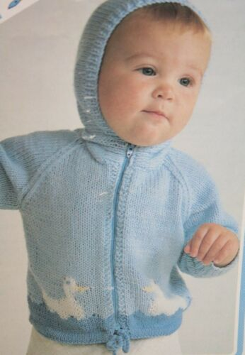 JN001 Babys Hooded Cardigan Hoodie with Duck Motif KNITTING PATTERN