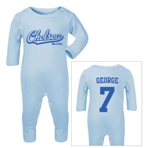 Personalisierter Chelsea Fußball Babystrampler//Schlafanzug//
