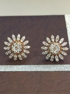 Pave-0-90-Cts-Natural-Diamonds-Stud-Earrings-In-Solid-Certified-14K-Yellow-Gold