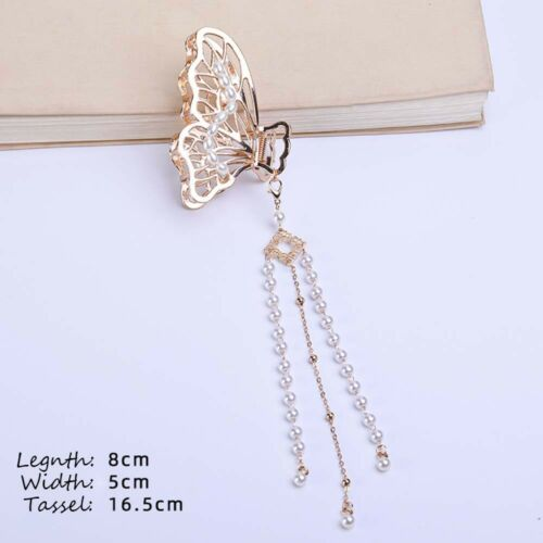 Details about  /Penant Butterfly Hair Claw Pearl Tassel Crab Clips Hairpin Barrettes Hair Clip