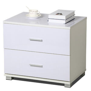 Corner Bedside Table Cabinet Nightstands Storage 2 Drawers For Bedroom White Ebay