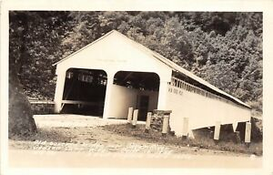 D87-Dawson-Camp-West-Virginia-WV-Real-Photo-RPPC-Postcard-Covered-Bridge-40s