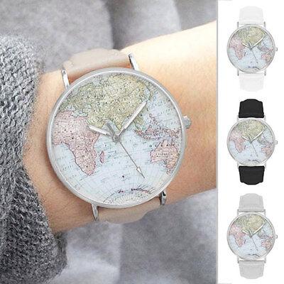 Damenuhr Armbanduhr Herrenuhr Weltkarte Landkarte Globus Uhr Uhren