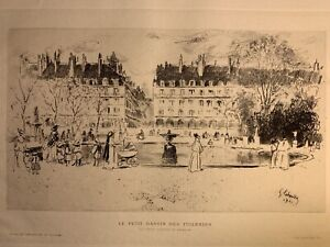 Gustave leheutre engraving water forte etching the small pool tuileries garden