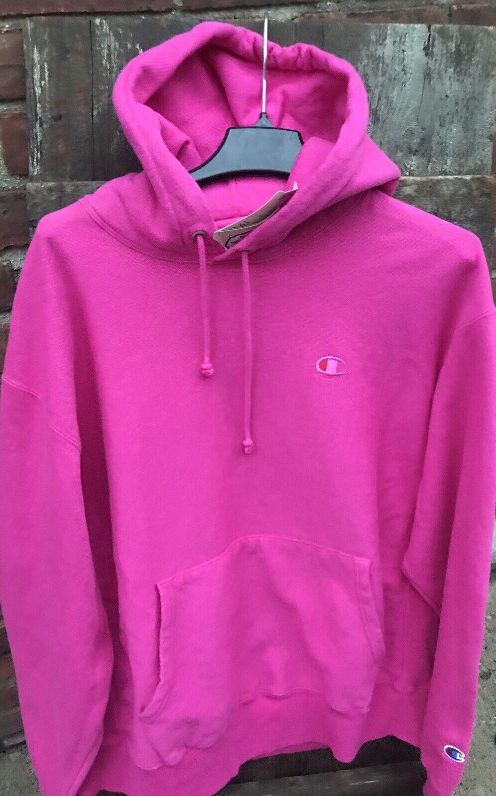 New  Size M Champion Reverse Weave Hot Pink Pigment Amaranth Dye Hoodie