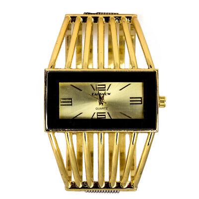 Luxury Women's Golden Bangle Bracelet Analog Wrist Watch Hollow Alloy Band