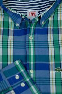 Lacoste-Men-039-s-Blue-Green-White-Check-Luxury-Cotton-Casual-Shirt-L-Large