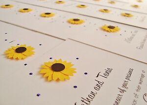 Set of 10 Personalised Handmade Sunflower Wedding Invitations eBay