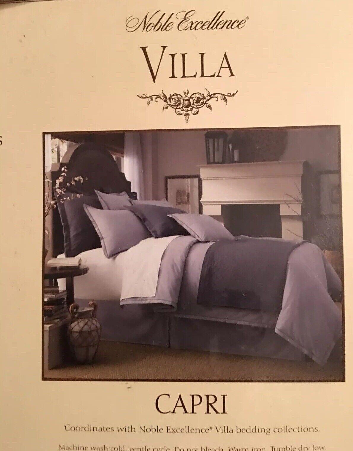 NIP Noble Excellence VILLA Capri Blau Cotton 4pc Full Königin Duvet Set
