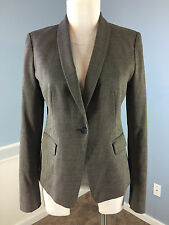 Ann Taylor Brown Blazer Suiting Jacket Career Cocktail Excellent 2 Wool Blend