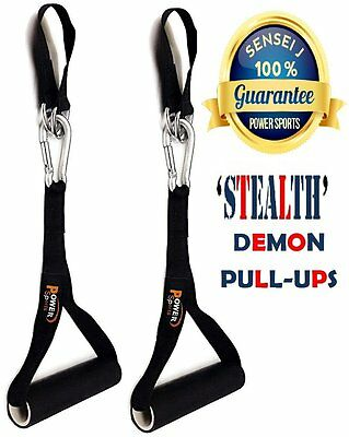 Pull Up Straps Gym Exercise DEMON Handles Ab Workout Fitness Gymnastics Hanging