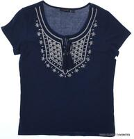 Notations Womens Small Relaxed Fit Knit Top Casual Embroidery Detail