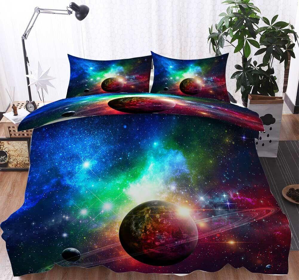 Blau Grün Planet 3D Printing Duvet Quilt Doona Covers Pillow Case Bedding Sets