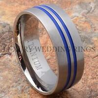 Mens Ring Titanium Wedding Band Brushed Love Bridal Jewelry Blue Lines Size 6-13