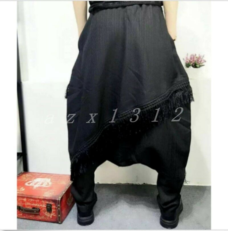 Hot Sale Mens Japanese Samurai Boho Harem Hakama Tassels Pants Trousers Loose