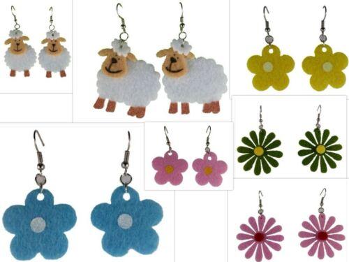 Aretes ohrhänger colgadores acero inoxidable fieltro blanco oveja ovejas rebaño floración flor